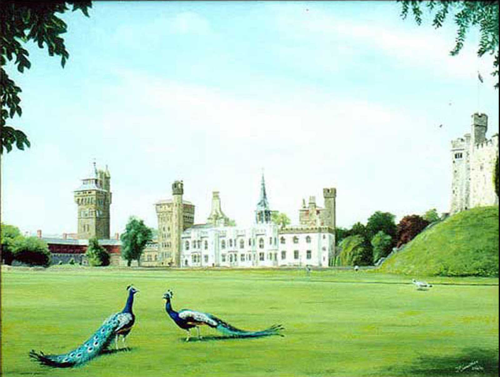 Cardiff Castle oil painting on canvas