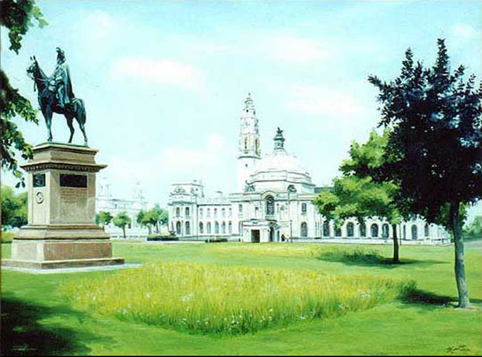 Cardiff City Hall oil painting on canvas