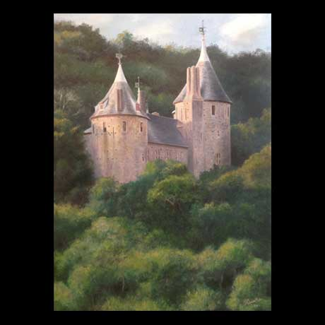 Castell Coch in summer, oil painting on canvas
