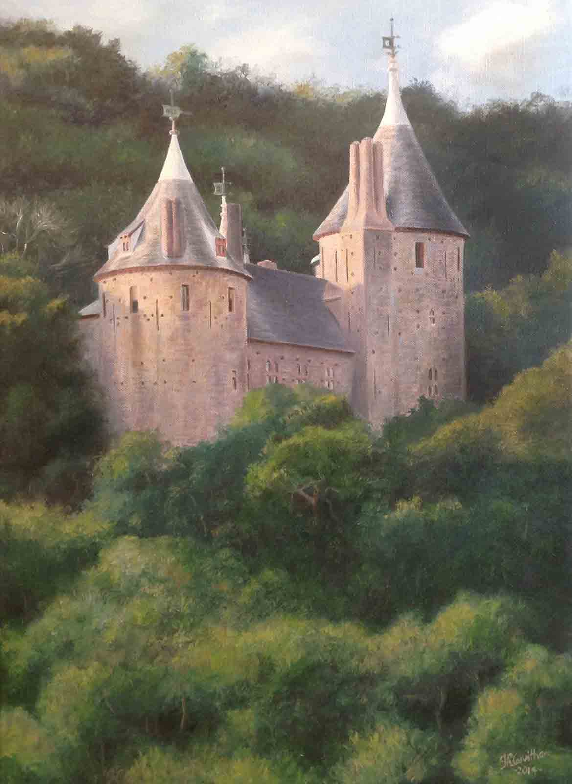 Castell Coch in Summer near Cardiff, oil painting on canvas
