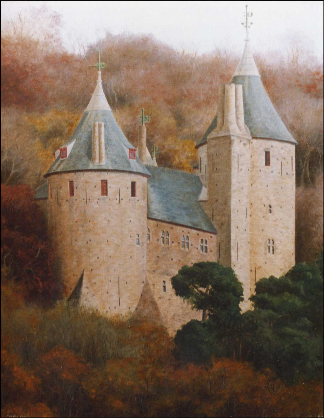 Castell Coch in autumn near Cardiff, oil painting on canvas