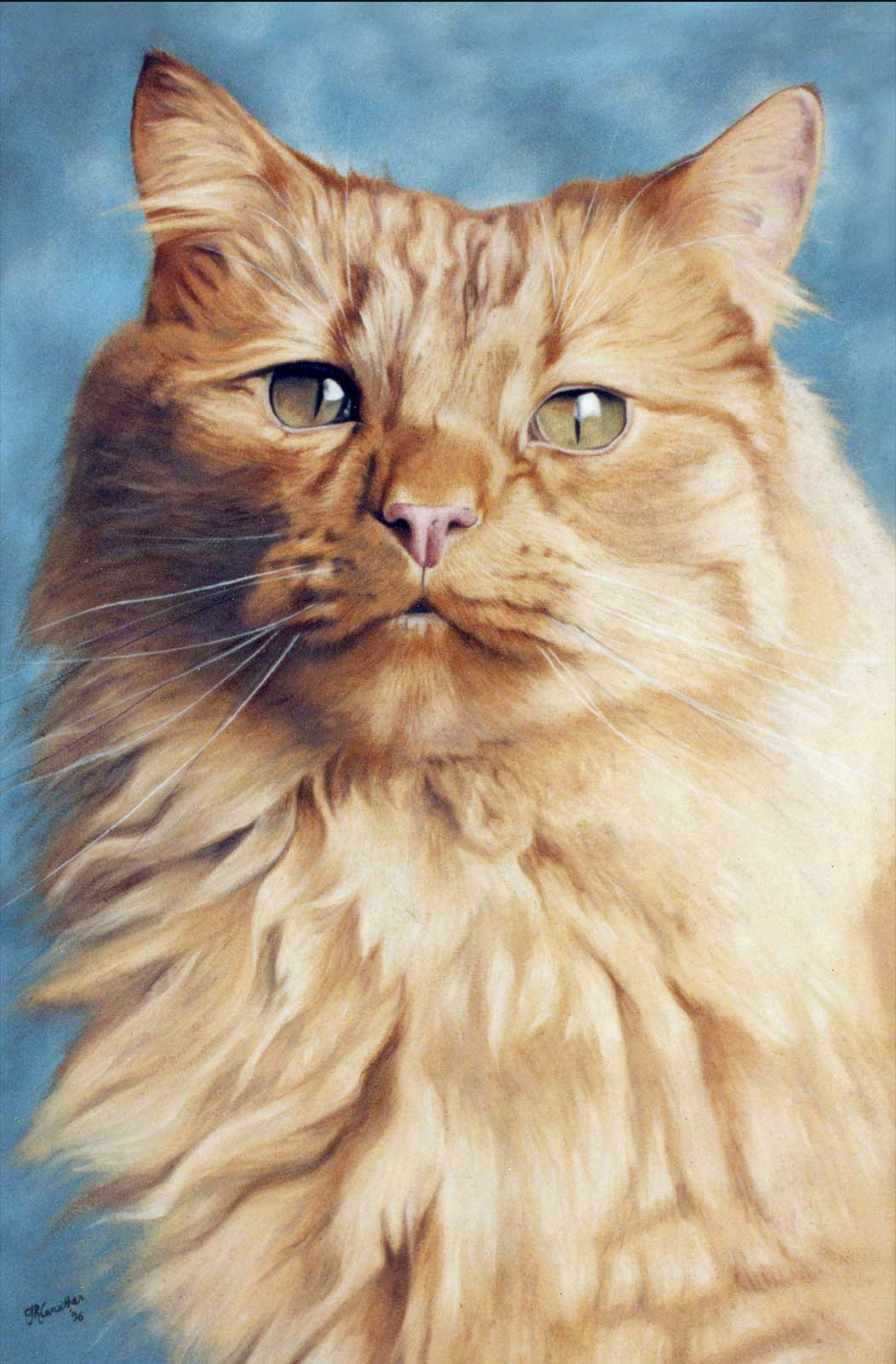Cat portrait, oil painting on canvas