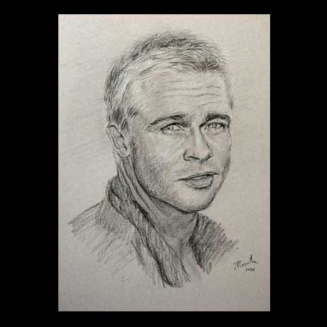 Brad Pitt celebrity pencil drawing