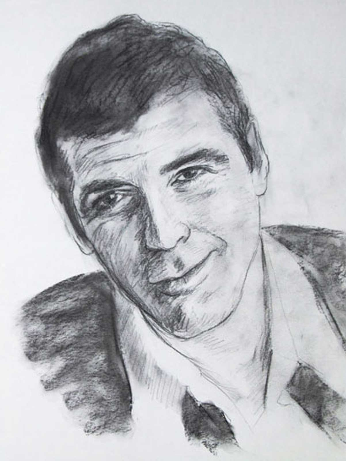George Clonney portrait drawing on paper