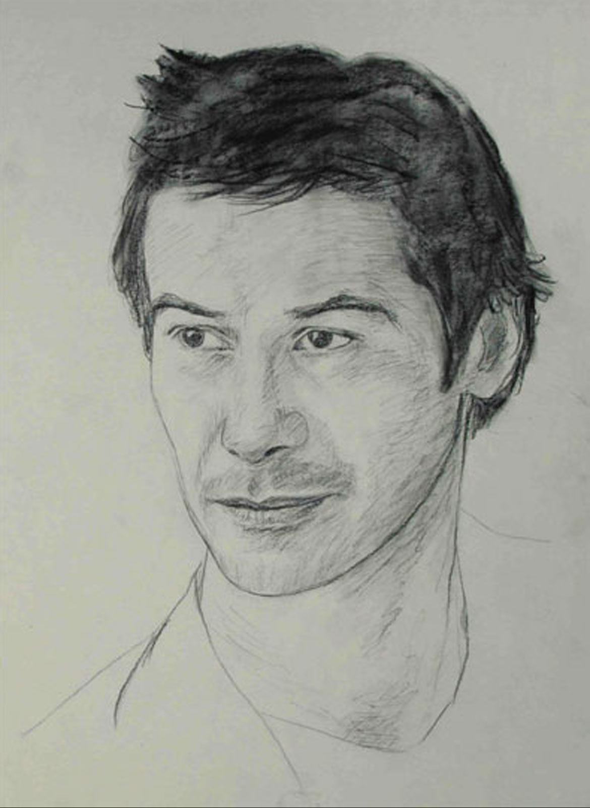Keanu Reeves portrait drawing on paper