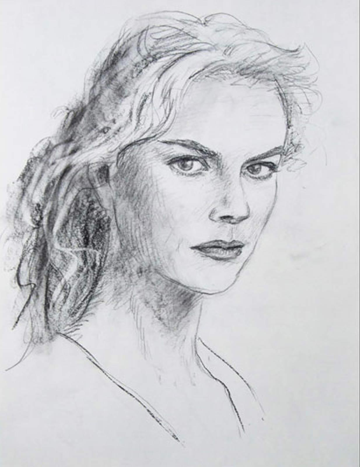 Nicole Kidman portrait drawing on paper