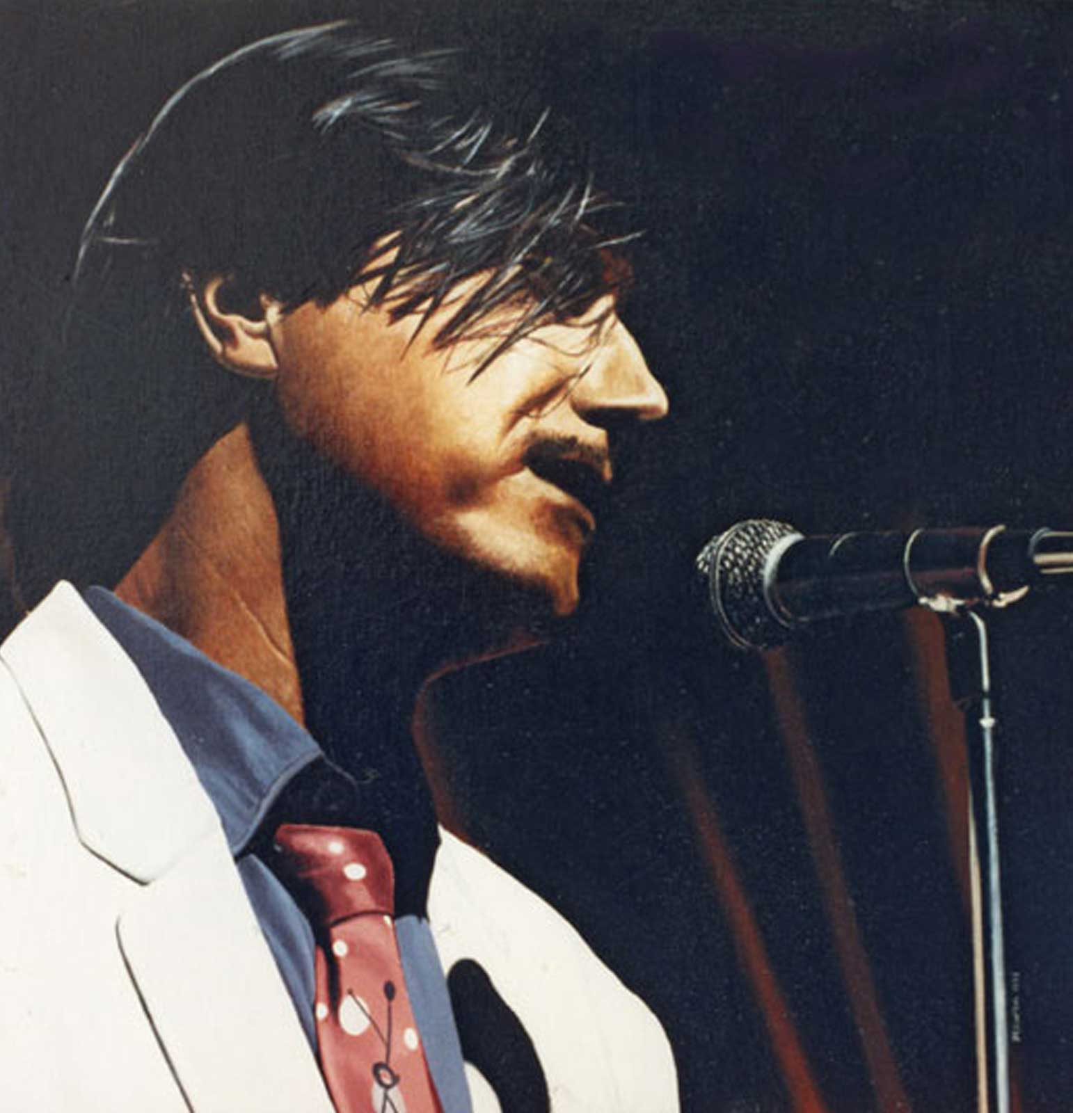 Brian Ferry portrait, oil painting on canvas