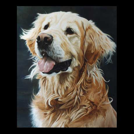 Golden Retriever dog portrait painting, oil paint on canvas