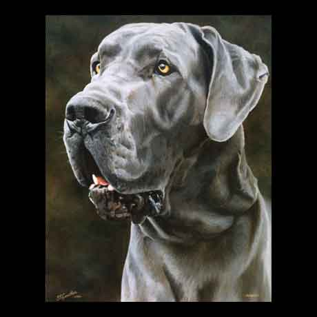 Dog portrait painting, oil paint on canvas