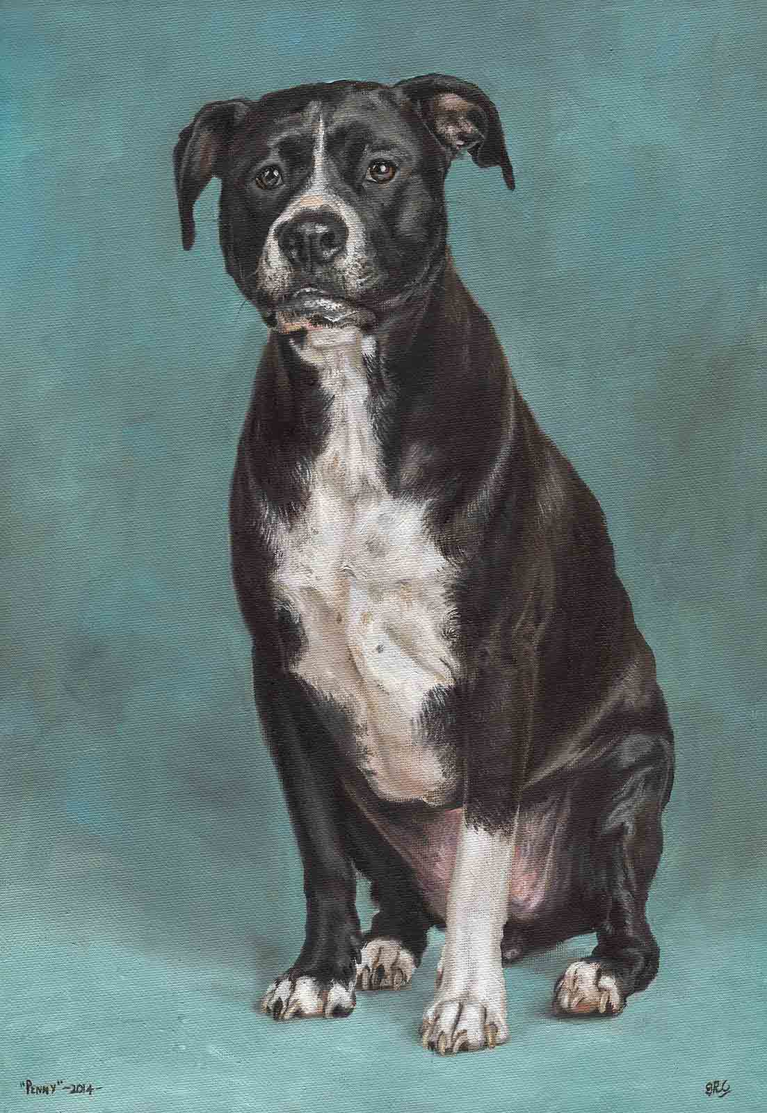 Pitbull dog portrait oil painting on canvas