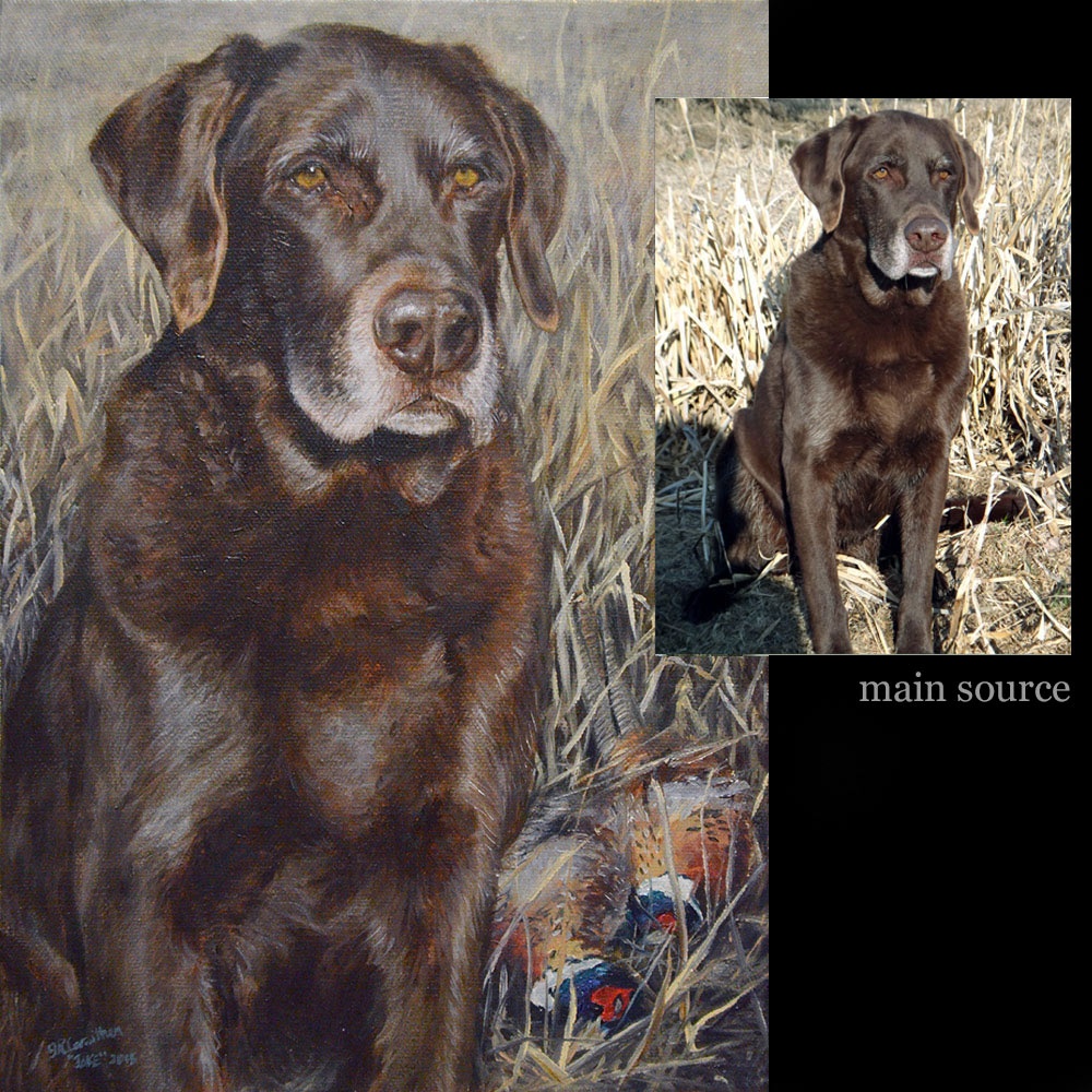 Brown labrador hunting dog portrait, oil paint on canvas