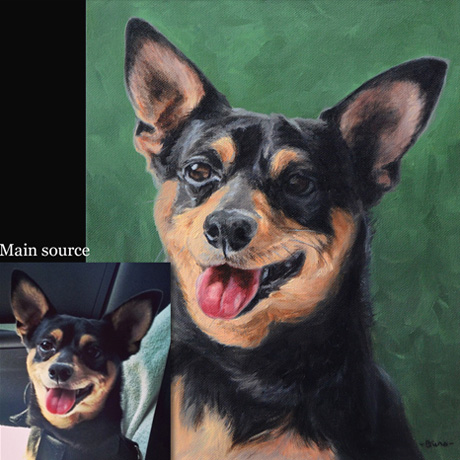Chihuahua portrait painting 1, oil paint on canvas