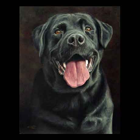 Black Labrador dog portrait painting, oil paint on canvas