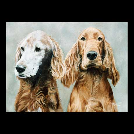 Red Setter dogs portrait painting, oil paint on canvas