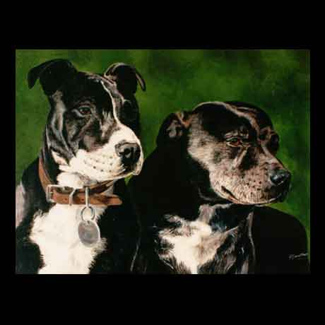 Staffordshire Bull Terrier dog portrait painting, oil paint on canvas