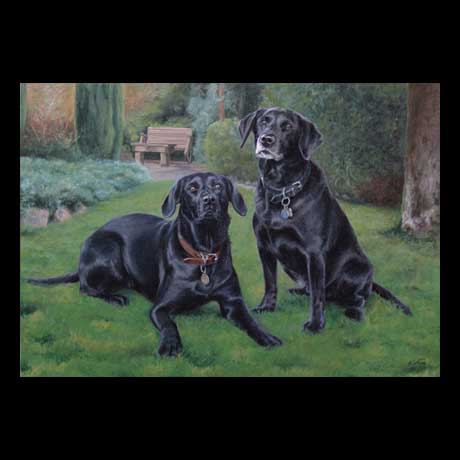 Black Labrador dogs portrait painting, oil paint on canvas