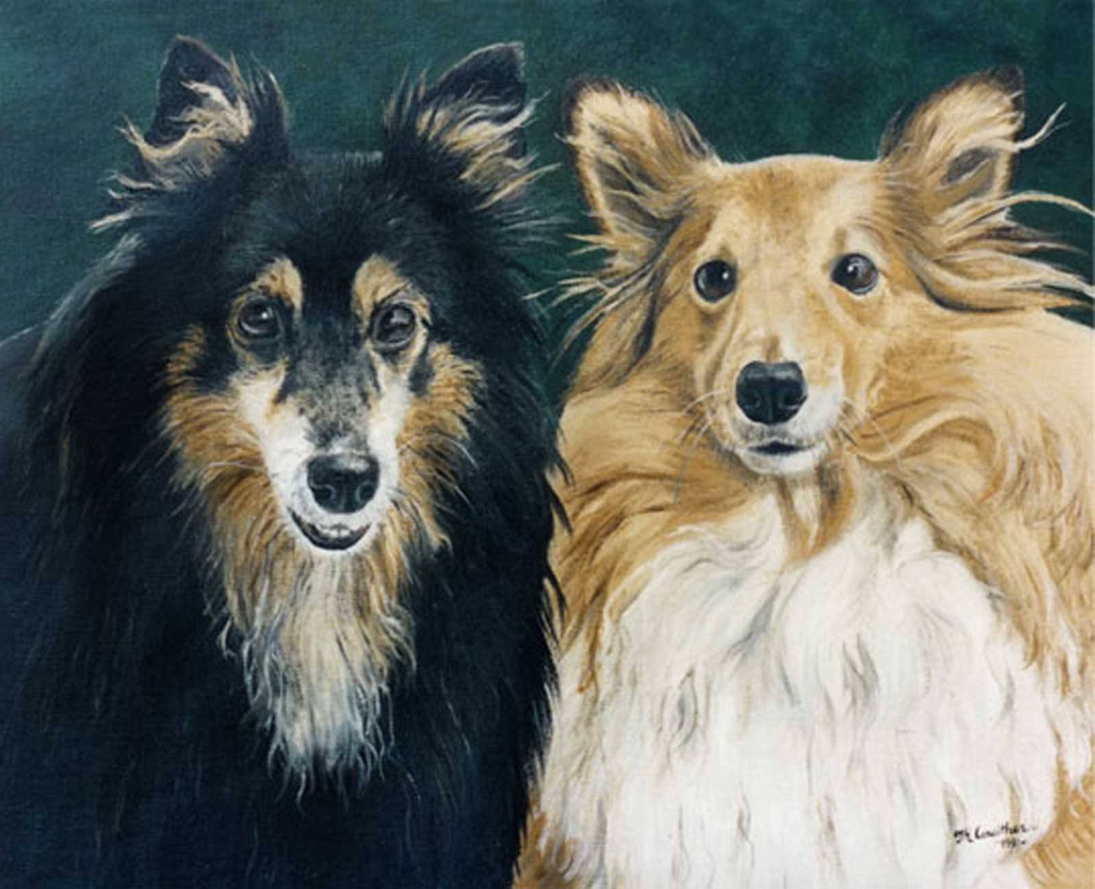 Dog portraits oil painting on canvas