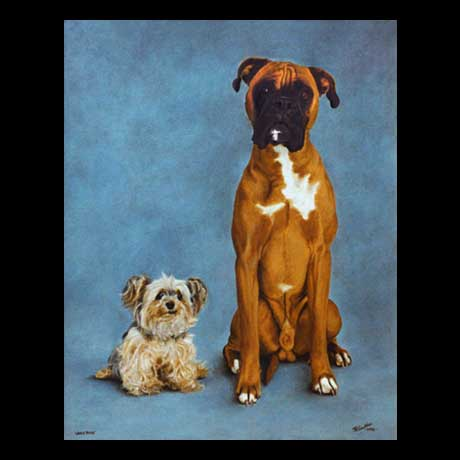 The Odd Couple, dogs portrait painting, oil paint on canvas