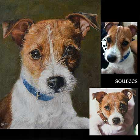Jack russell dog portrait painting 1, oil paint on canvas