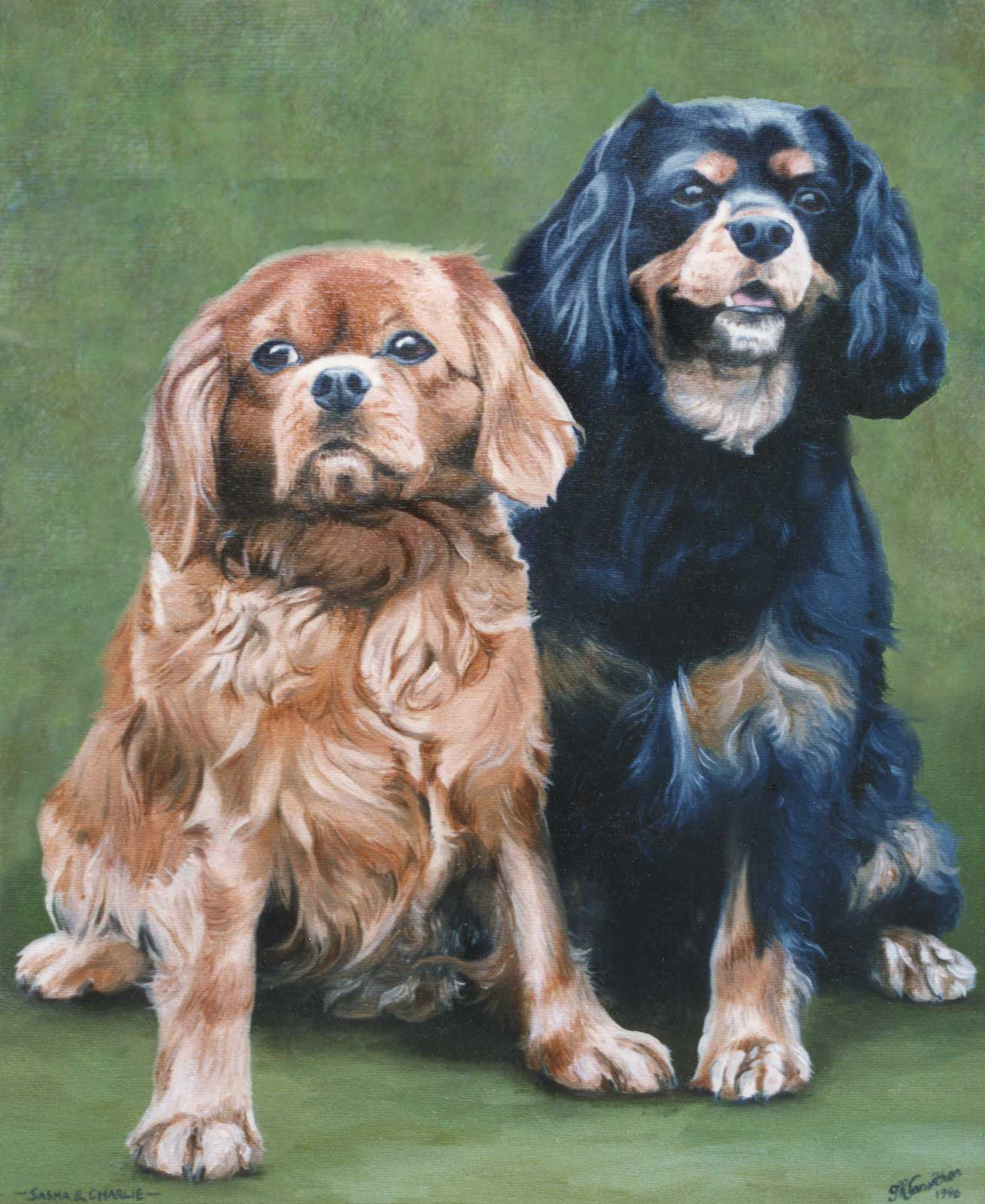 King Charles Spaniels dogs portraits oil painting on canvas
