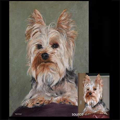 Yorkshire terrier dog portrait 2 painting