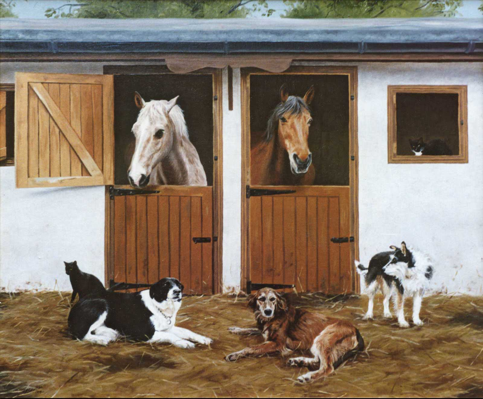 Horses and dogs at the stable, oil painting on canvas