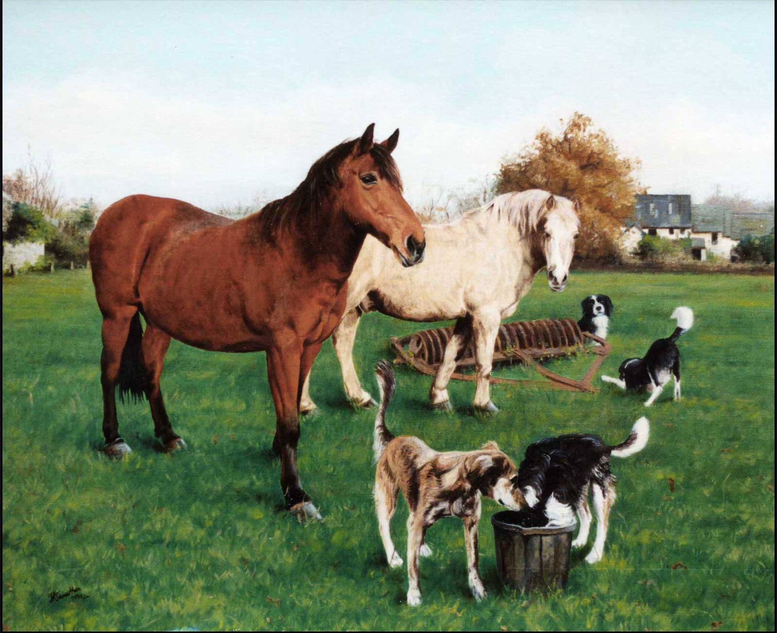 Horses and dogs family, oil painting on canvas