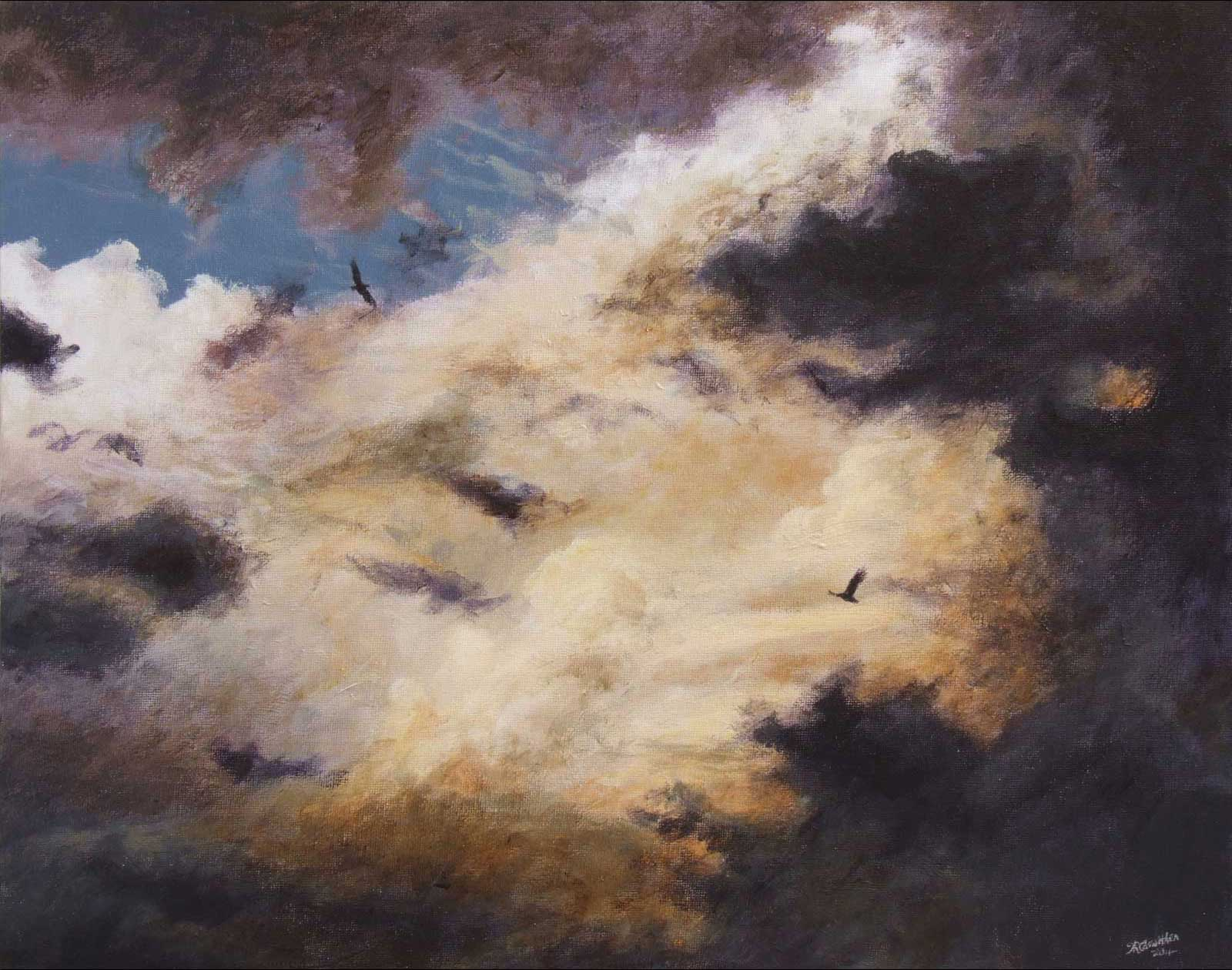 Skyscape oil painting on canvas