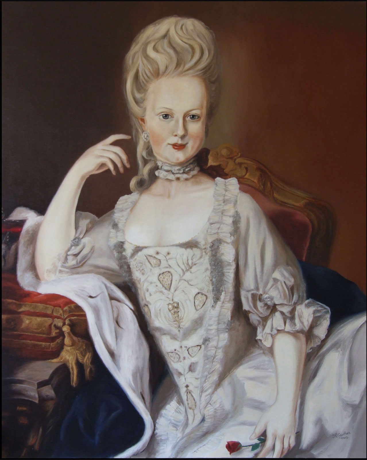 Marie Antoinette portrait oil on canvas