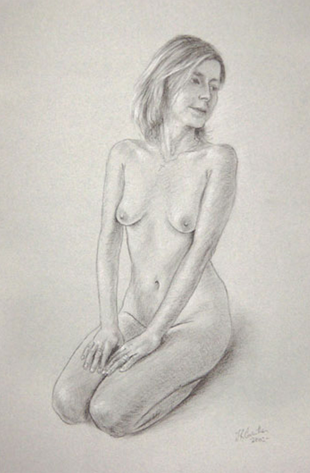 Nude female drawing on paper