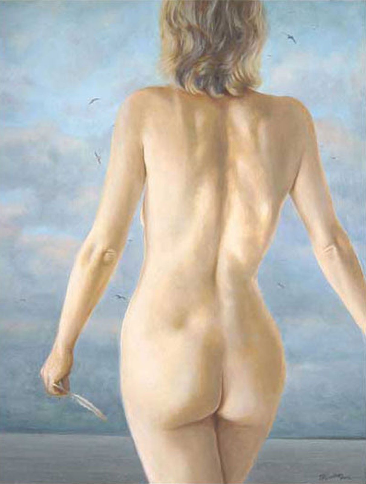 """Calling"" nude, oil painting on canvas"