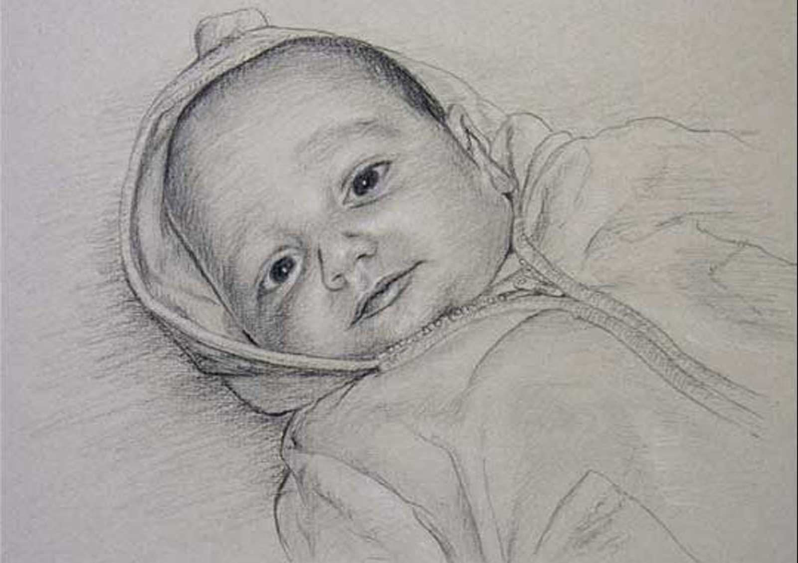 Baby portrait, drawing on paper