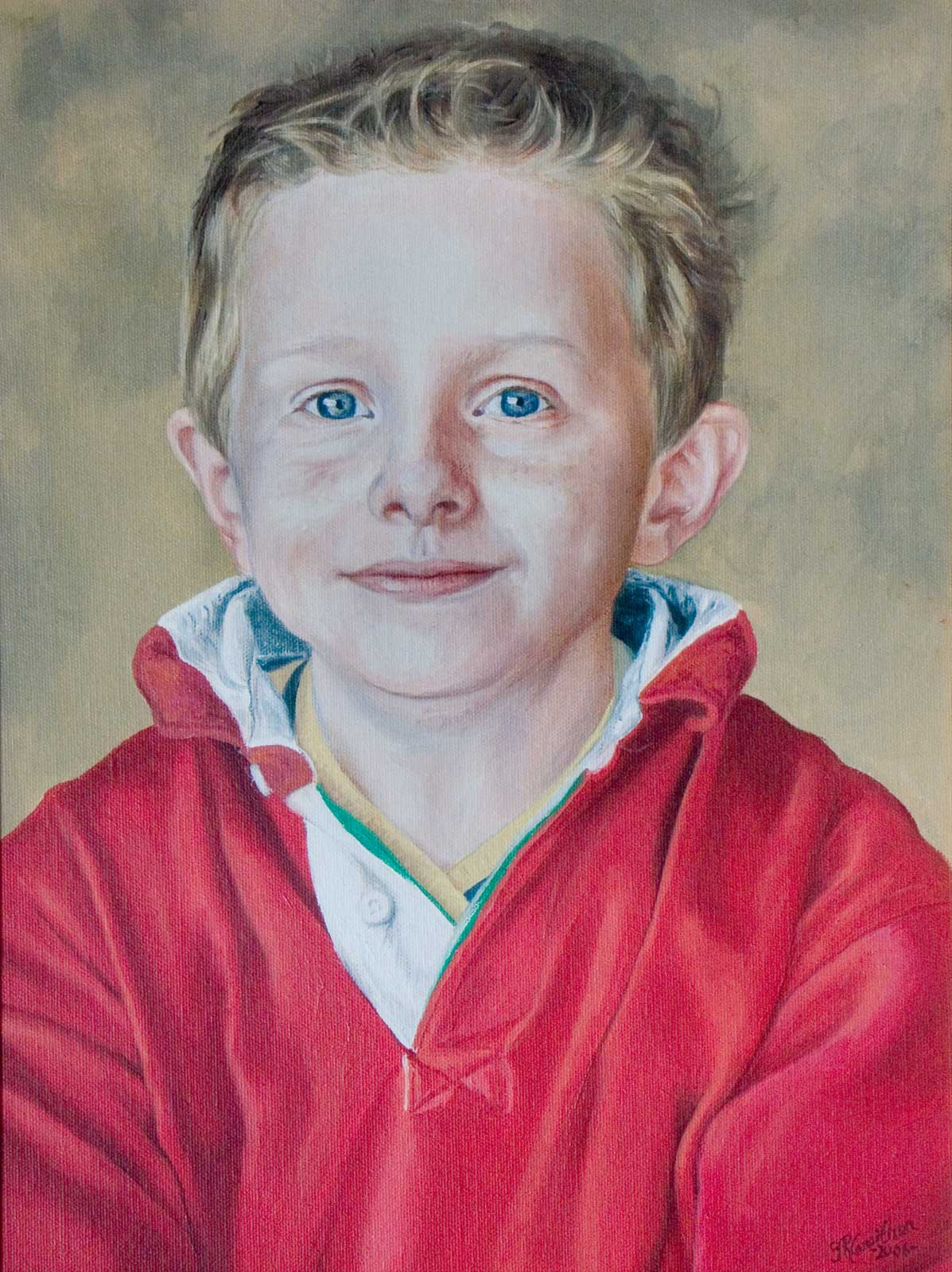 Boy portrait painting oil paint on canvas