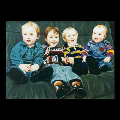 Children Portrait painting, oil paint on canvas