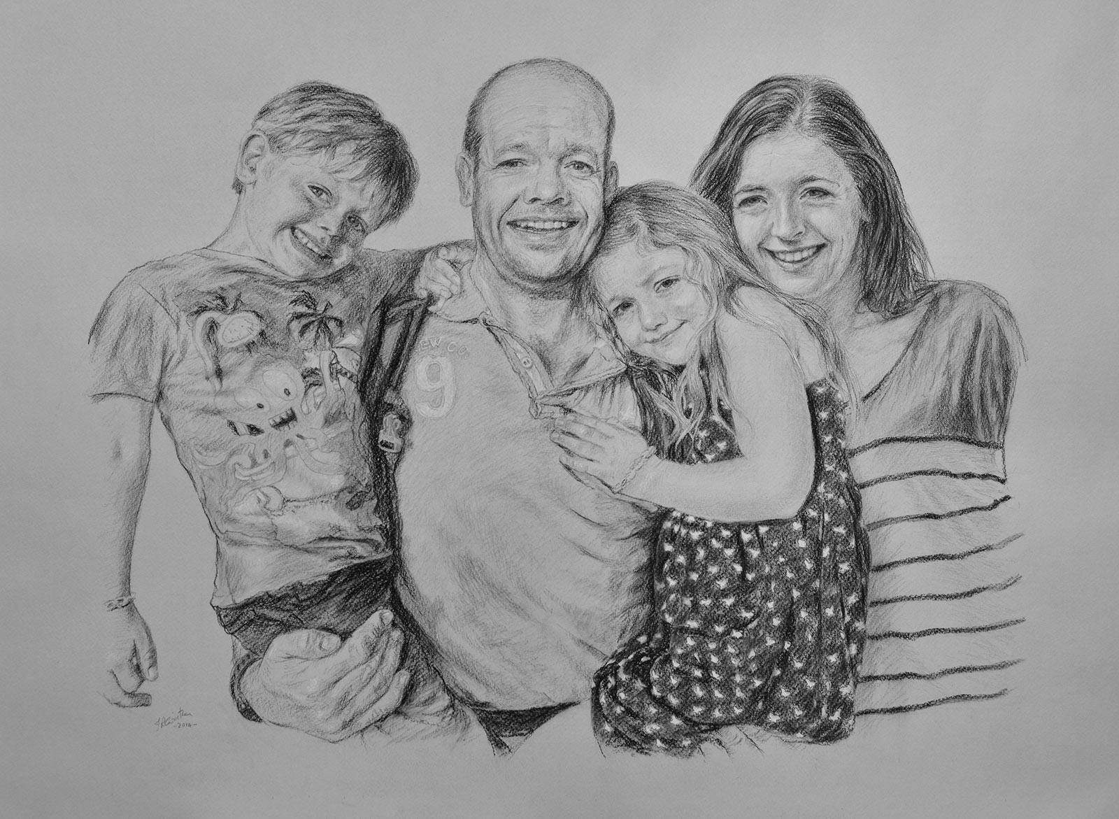 Family portrait, carbon pencil on paper