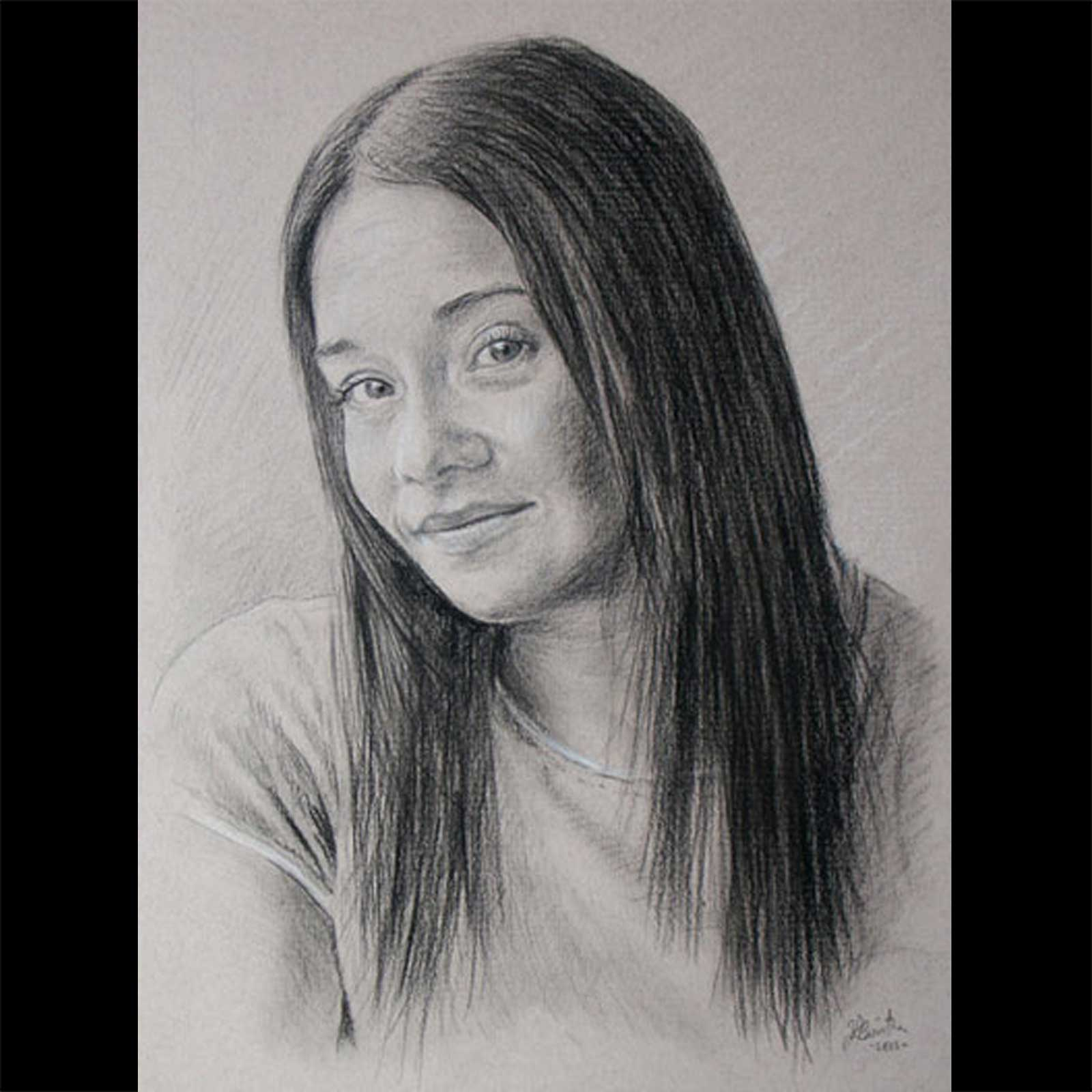 Female portrait drawing on paper