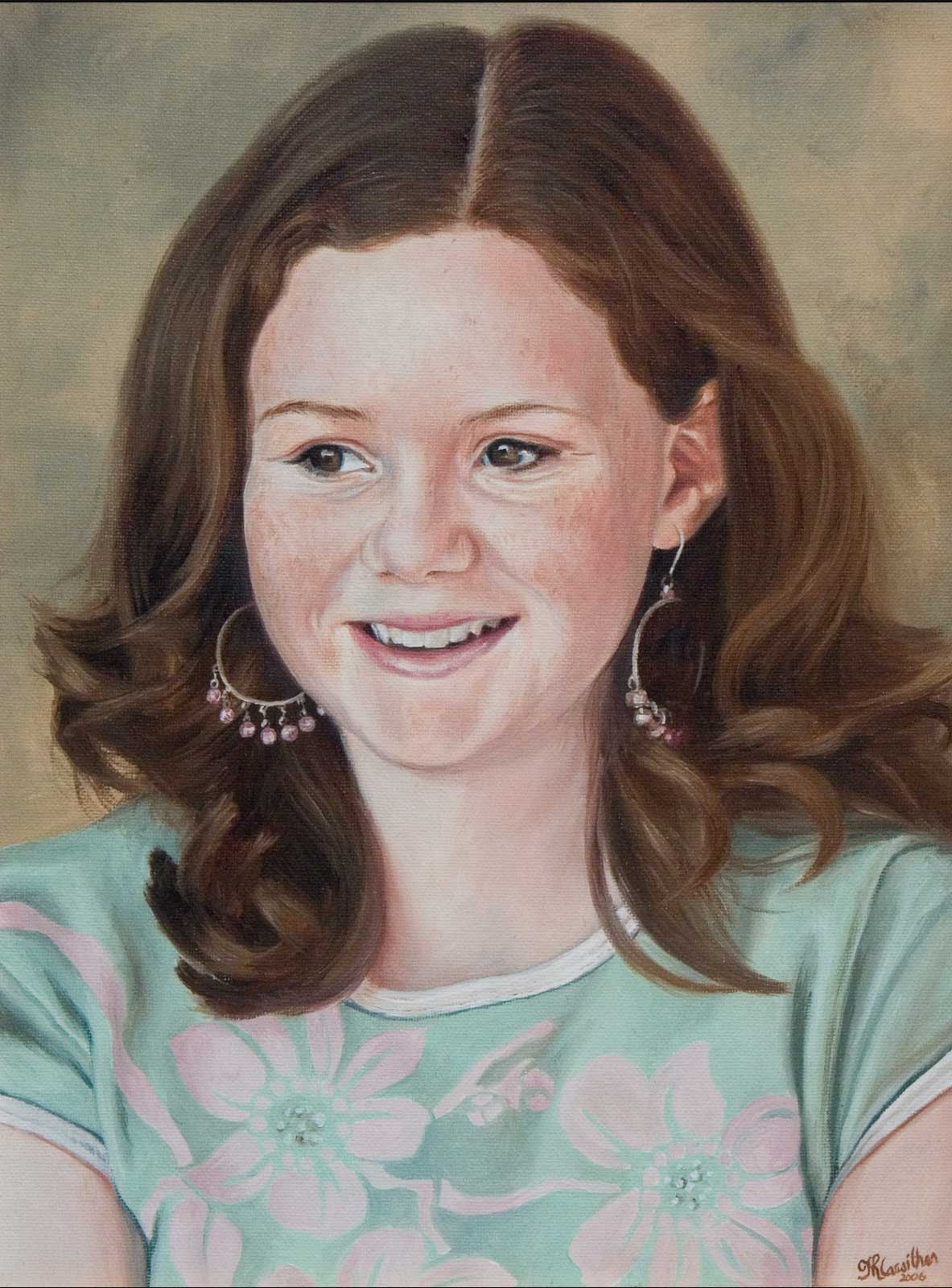 Girl portrait painting oil paint on canvas