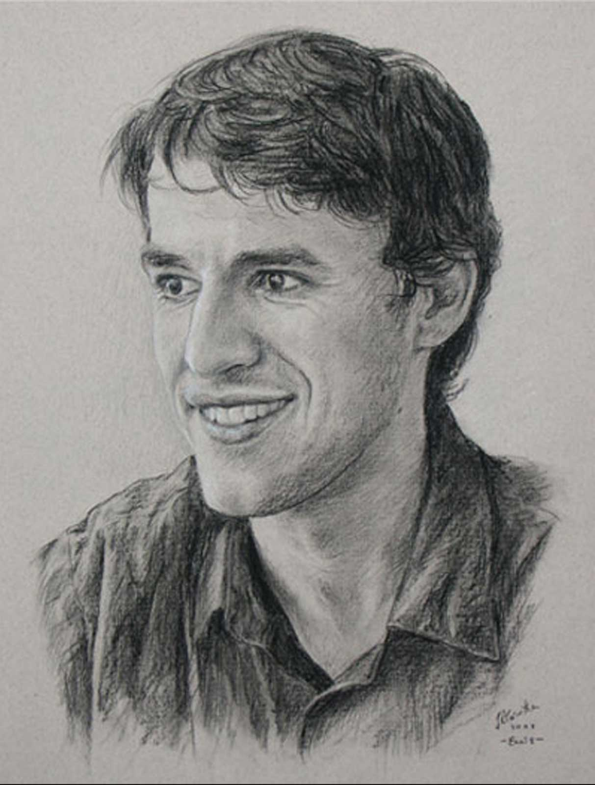 Male portrait drawing on paper
