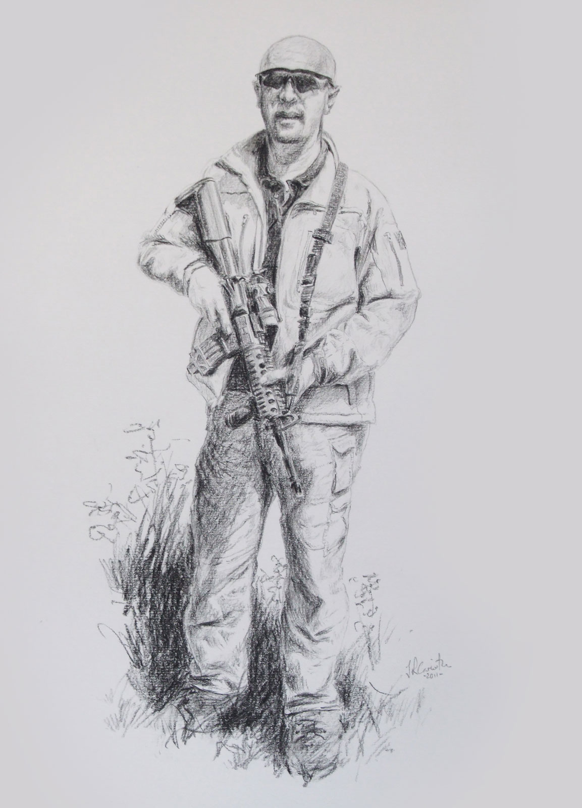 Male special forces portrait drawing on paper