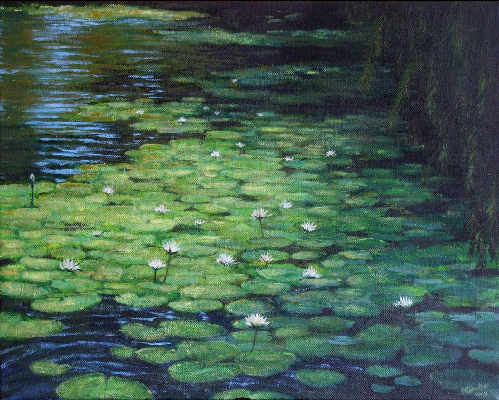 """Water lillies"" oil painting on canvas"