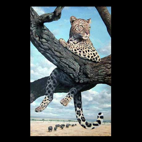 Leopard painting, oil paint on canvas