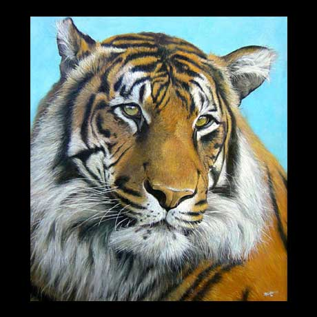 Tiger painting, oil paint on canvas